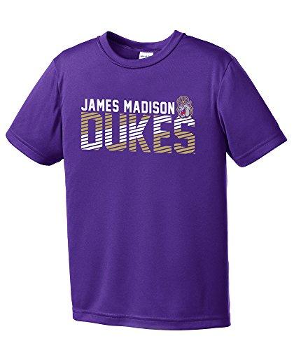 Image One NCAA James Madison Dukes Youth Boys Diagonal Short sleeve Polyester Competitor T-Shirt, Youth Medium,Purple