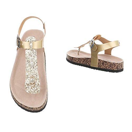 Schnalle Damenschuhe Gold Design Sandaletten Sandalen Zehentrenner Zehentrenner Zehentrenner Ital amp; nzXx6q7dw