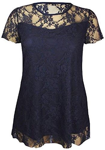 Camiseta de manga corta de encaje con diseño de flores, para mujer, tallas grandes negro/lila