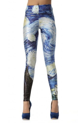 CosplayLand Women's Night View Star Digital Print Leggings One Size Multicolor (Sailor Outfits For Men)