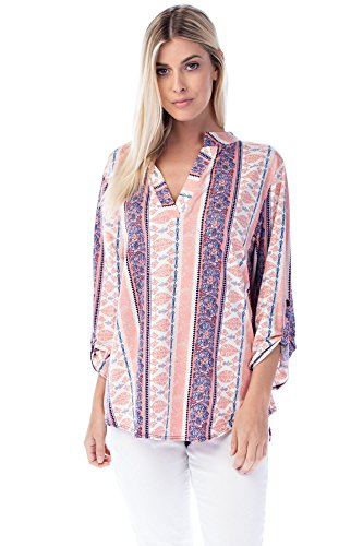 Allora Betsy Red Couture Women's & Plus Size Soft Knit Tunic Top (2X, BR-B3288X Blush - Outlets Bend Or