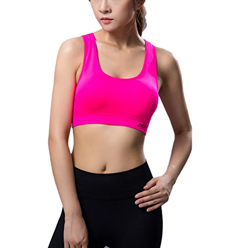 Zhuhaitf Women Dry Quick Push Up Sports Bra Tank Tops Yoga Shirt with Padding for Running Fitness Gym Bras 4033# Rose Red