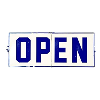 "VIPSSCI Open/Closed Metal Hinged Sign Blue Vintage Inspired Decorative Business Sign 20"" W"