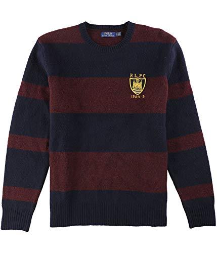 Polo Ralph Lauren Mens Striped Crewneck Wool Sweater Red 2XL