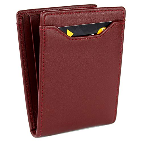 LXFF Money Clip Wallet Mens Wallets RFID Blocking Slim Front Pocket Credit Card Holder Minimalist Mini Bifold Full Grain Leather (Mahogany) - Mahogany Money Clip