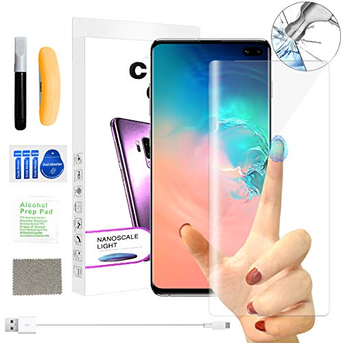 (Screen Protector for Samsung S10+, [Exclusive Solution for Ultrasonic Fingerprint][Liquid UV][9H Hardness][No Bubble] HD 3D Curved Edge Full Tempered Glass Film for Samsung S10+ Plus 6.4'')