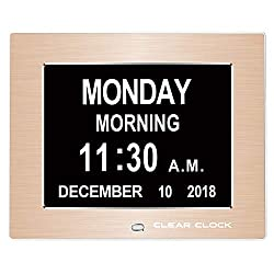 Clear Clock 2.0 Special Edition Metal Frame Extra Large Memory Loss Digital Day Clock Calendar with 12 Alarms Perfect for Seniors and Impaired Vision Dementia Clock (Gold Metal Frame)