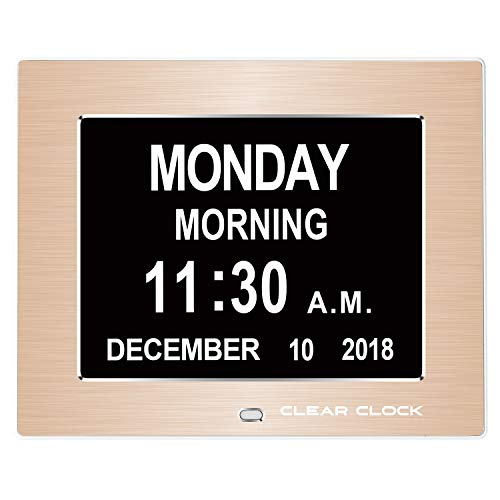 - Clear Clock 2.0 Special Edition Metal Frame Extra Large Memory Loss Digital Day Clock Calendar with 12 Alarms Perfect for Seniors and Impaired Vision Dementia Clock (Gold Metal Frame)