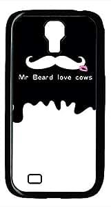 Samsung Galaxy S4 I9500 Black Hard Case - Mr Beard Love Cows Galaxy S4 Cases