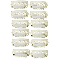 YONNA 12pcs U Shape Iron Snap Clips For Feather Hair Extensions Wigs Weft Beige Color