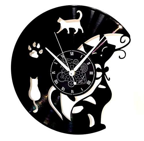 Reloj de pared de vinilo Vintage hecho a mano Regalo ...