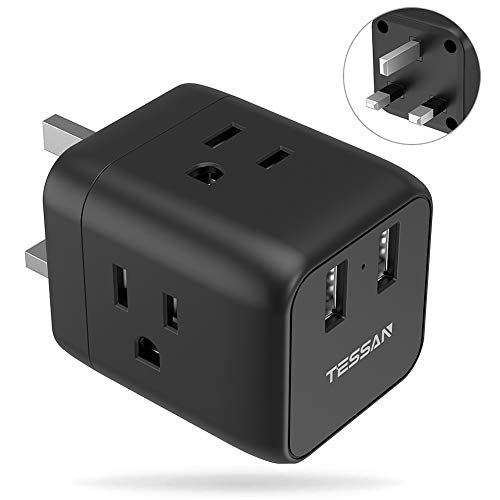 UK Ireland England Travel Adapter Plug, TESSAN UK Power Adapter with 2 USB Ports & 3 American Sockets, USA to Scotland British London Hong Kong Grounded Outlet Adaptor, Type G (London British)