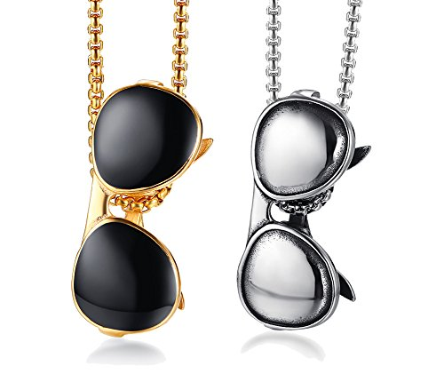 XUANPAI 2 Pcs Cool Enamel Shades Sunglasses Design Necklace Stainless Steel Pendant Necklace for Men - Sunglasses Best Inexpensive 2017