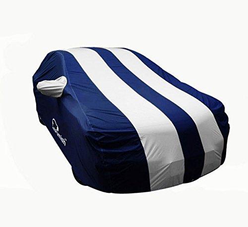 Autofurnish Arc Blue Stylish Silver Stripe Car Body Cover for Honda City iDtech/iVtech