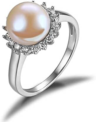 JewelryPalace White 10mm AAA Quality Freshwater Cultured Pearl Ring Halo 925 Sterling Silver