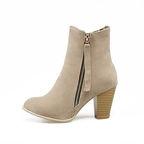 Allhqfashion Women's Solid Imitated Suede High-Heels Zipper Round Closed Toe Boots Beige SNytWwDw5z