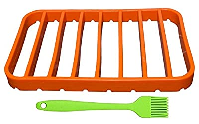 Big Size Silicone Roasting Rack for Oven, Healthy Cooking Fast and Easy, Meat, Vegetables, Fish, Trivet, Free Silicone Basting Brush, Fits with Various Baking Oven Pans, Odorless