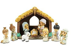 Amazoncom Precious Moments 10piece Nativity Set Home  Kitchen