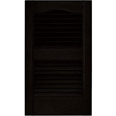 Louvered Vinyl Exterior Shutters Pair in #002 Black