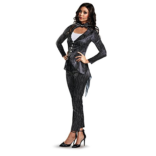 Disney Women's Jack Skellington Deluxe Adult Costume, Multi, Medium (Halloween Costumes Movie Characters Female)