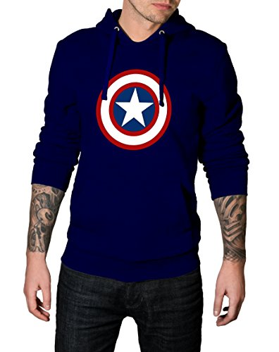 Decrum Mens Navy Marvel Captain America Hoodie - Navy Blue Hoodie | Capt America, XXL