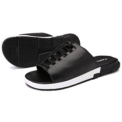 Hombres Sandalias Planas Sus Verano Los Negro Elásticas Color Tamaño Atan UK6 Negro Sandalias Zapatillas Zapatos EU39 ZHANGRONG CN39 Playa de xqPwBB