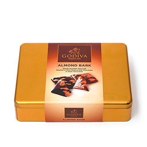 Godiva Chocolatier Milk Chocolate and Dark Chocolate Almond Bark Tin, Chocolate Almonds, Chocolate Bark, Great for Holiday Gifting, Great as a Gift, Chocolate Treat ()