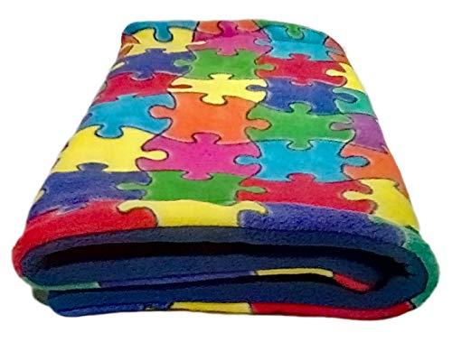"""18"""" x 30"""" Guinea Pig Fleece Cage Liner - Reusable Fleece Rabbit Bedding - Rat Cage Fleece Liner - Absorbent - Machine Wash - Puzzle"""
