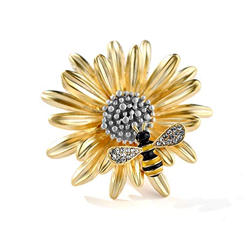 MIXIA Gold-Wish Daisy Insect Opening Wing Honey Bee Brooch Chrysanthemum Brooch Pin Broach Coat Accessoriesfor Women Girls (Bee)