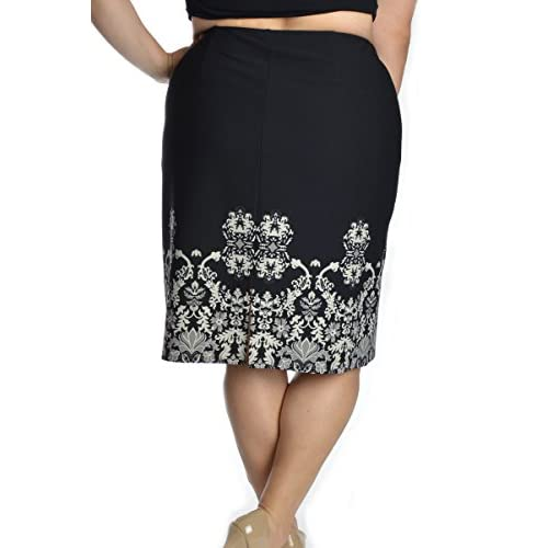 7106860c6087b7 Border Print Crepe Pencil Skirt / 20071W / 14187 on sale - lyhmscher ...