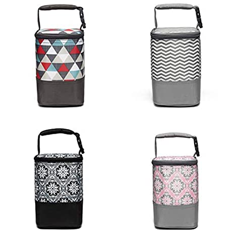 Insulated Baby Bottle Tote Bags - Lightweight BreastMilk Baby Bottle Cooler Bag (Gray Wavy Stripes(Fits up to most 8oz Bottles)) 1