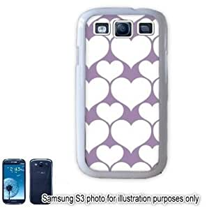 Purple White Hearts Love Monogram Pattern Samsung Galaxy S3 i9300 Case Cover Skin White