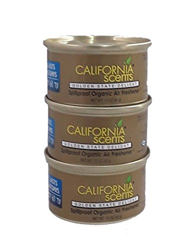 California Scents Spillproof Canister Car Track Taxi Organic Air freshner, 3X Golden State Delight, 1.5 Ounce (Pack of 3) - California Golden Spray