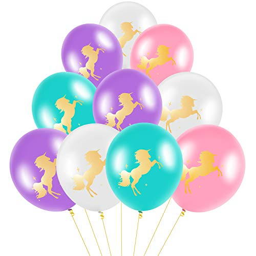 BBTO 60 Pieces 12 Inches Unicorn Latex Balloons Double Printed Unicorn Balloons for Birthday Baby Shower Wedding Unicorn Themed Party Decoration, 4 Colors
