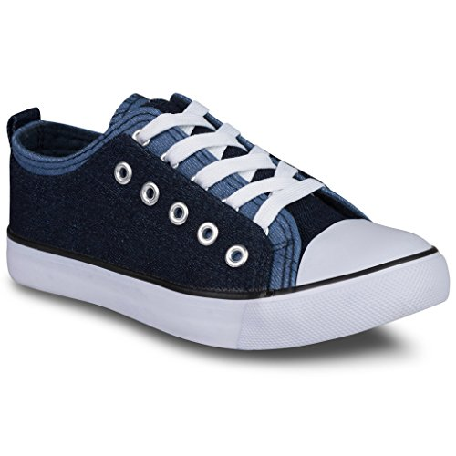 Twisted Girl's Canvas KIX Double Upper Lo-Top Sneaker - Denim/Denim, Size 3