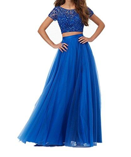 Brautmutterkleider Royal mit La Braut Blau Lang Fuchsia Kurzarm Marie Abendkleider Damen Steine Festlichkleider Ewq8U