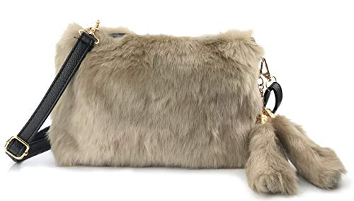 (Hoxis Faux Fur Furry Crossbody Shoulder Handbag Clutch Purse with Pom Tail Keychian)