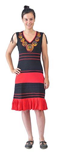 Mujeres Negro y vestido de algodón sin mangas rojo con bordado Escote Black