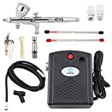WST Black 100V-240V Airbrush Compressor Kit 3 Tips Dual-Action Airbrush for Nail Art Temporary Tattoo Makeup
