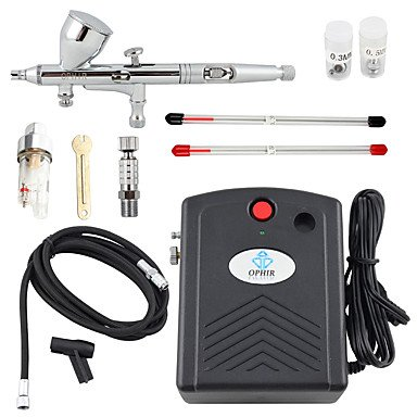 WST Black 100V-240V Airbrush Compressor Kit 3 Tips Dual-Action Airbrush for Nail Art Temporary Tattoo Makeup by ZHUQUE