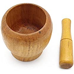 Mortar and Pestle, Wooden Spice Grinder Tools Kitchen Utensil, Perfect To Grinding Garlic/Herb/Pill/Crushing Sesame Seeds