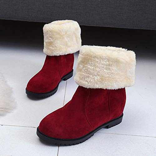 Suede Stitching Winter Boots Color Boots FALAIDUO Martin Boots Snow Red Warm Plus Solid Snow Thick Women's Velvet Flat wqxqtapYv