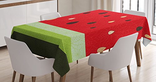 Nature Tablecloth by Ambesonne, Macro Watermelon Pattern Fresh Ripe Organic Fruit Seeds Cute Artsy Illustration, Dining Room Kitchen Rectangular Table Cover, 60 W X 84 L Inches, Red Green Black