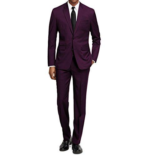 Braveman Men's Slim Fit 2 pc Suits, Plum, Size (36w Pc)
