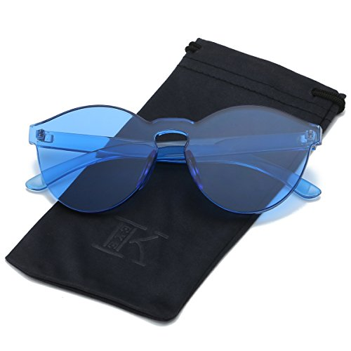 LKEYE-Fashion Party Rimless Sunglasses Transparent Candy Color Eyewear LK1737 Blue - Goggles Futuristic