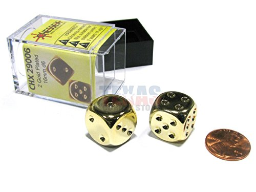 Gold Plated Dice (Gold Plated 16mm 6 Sided Dice 2 ea in Box by Chessex Dice)