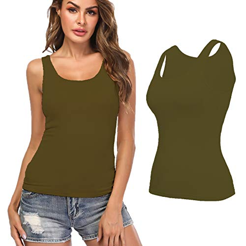 KIWI RATA Camisoles for Women with Built in Bra, Summer Sleeveless Shirt Casual, Comfortable Padded Bra Women cami for Yoga, Wide Straps Tank Top Oliver Grenn XXL