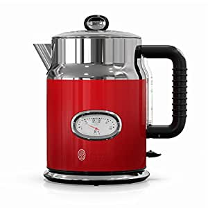 Russell Hobbs Retro Style 1.7L Electric Kettle, Red & Stainless Steel, KE5550RDRC