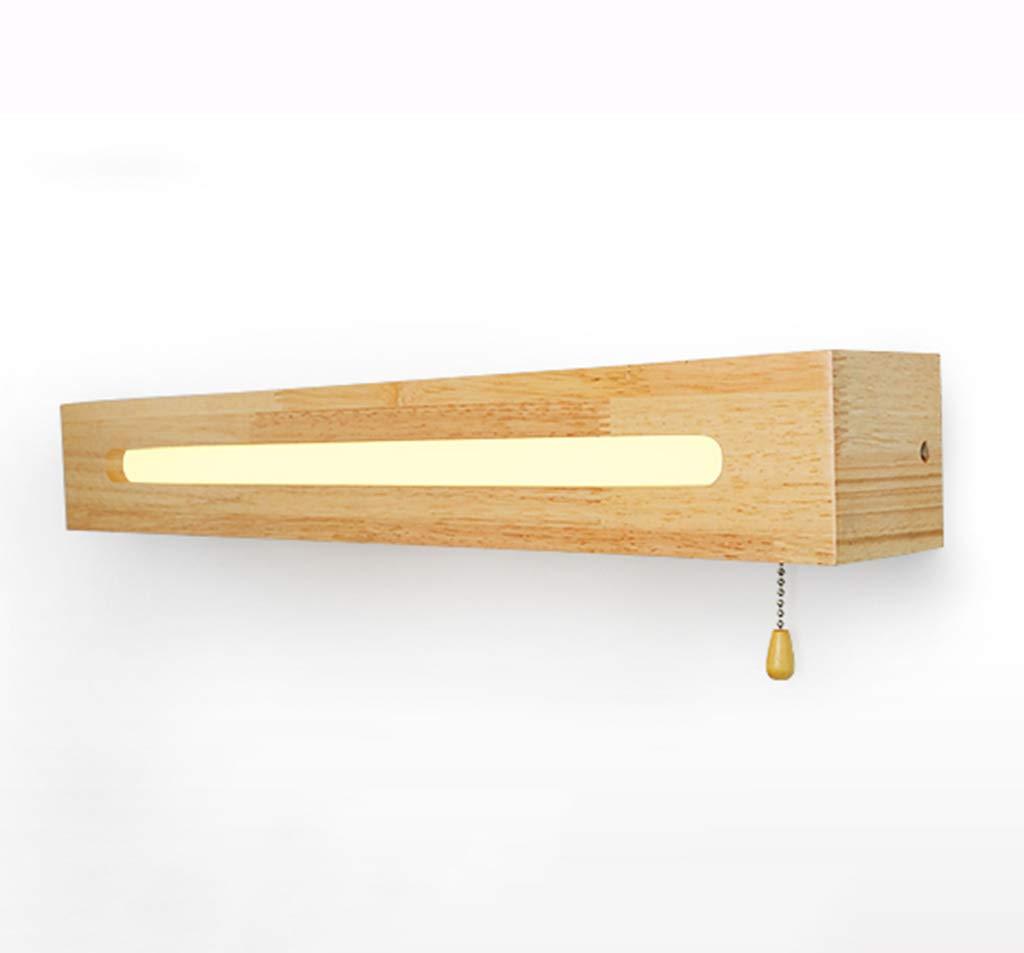 &Spiegelleuchte Spiegel Frontleuchte Nordic Holz LED Seil Schalter Badezimmer Wandleuchte-45   55cm (Farbe   Warmes Licht-45cm)