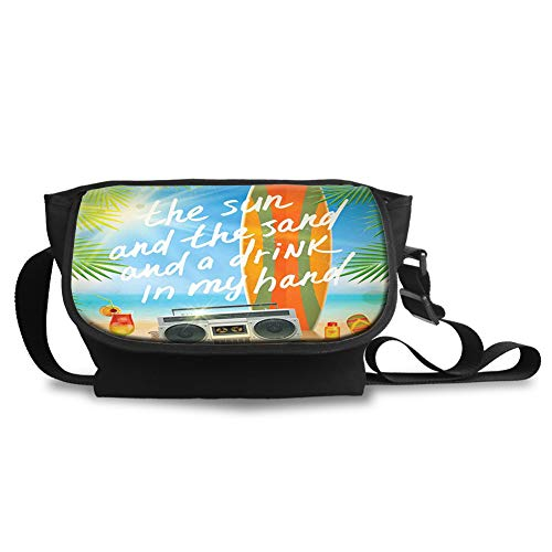 Unisex Casual and Popular Sling Bag Crossbody Bag Shoulder Bag,Retro Design Tropical Beach with Surfboard Palm Leaves Flip Flops and Sunglasses
